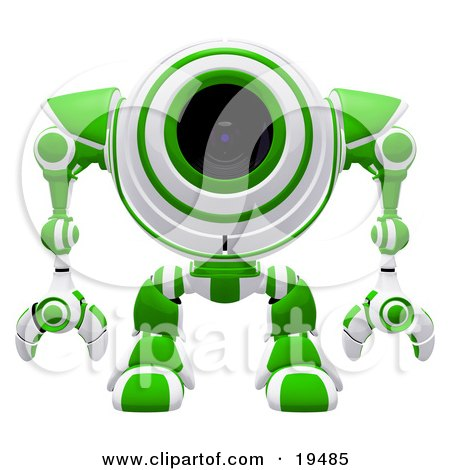 Clipart Illustration of an Alert Green And White Spybot Standing And Facing Front, Watching Out For Trouble by Leo Blanchette
