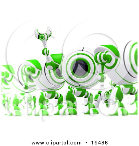 Clipart Illustration of an Excited Green And White Security Spybot Standing In Line And Waving by Leo Blanchette