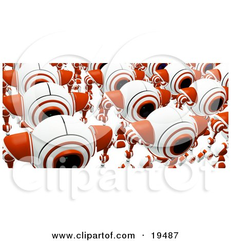 Clipart Illustration of a Group Of Marching Red And White Security Webcams Just Off The Assembly Line by Leo Blanchette