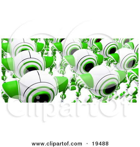 Clipart Illustration of Rows Of Marching Green And White Webcams Just Off The Assembly Line by Leo Blanchette