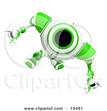 Clipart Illustration of an Alert Green And White Security Webcam Robot Looking Upwards by Leo Blanchette
