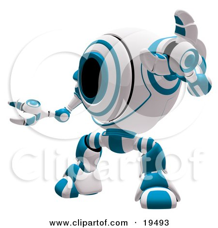 Clipart Illustration of a Blue And White Security Webcam Robot Standing In A Defensive Pose, Symbolizing, Defense, Protection And Security by Leo Blanchette