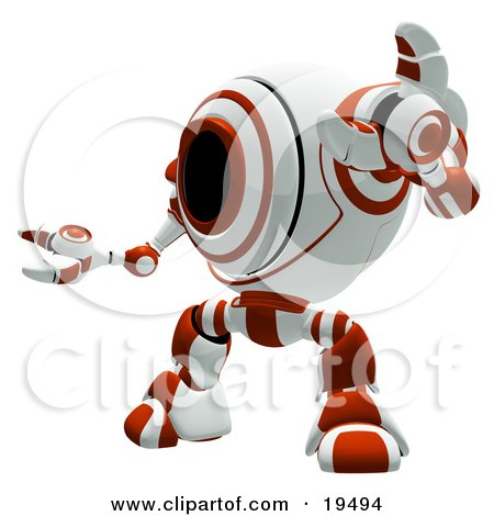 Clipart Illustration of a Red And White Security Webcam Robot Standing In A Defensive Pose, Symbolizing, Defense, Protection And Security by Leo Blanchette