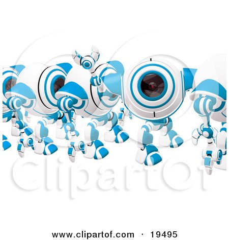 Clipart Illustration of a Blue And White Spycam Waving And Marching In Line by Leo Blanchette