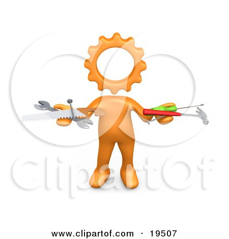 Clipart Illustration of an Orange Person With A Cog Head, Holding Nails, Screwdriver, Hammer, Saw And Wrench While Repairing A Website by 3poD