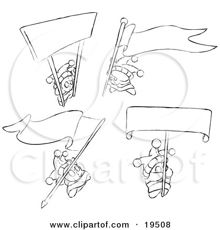 Clipart Illustration of Miniature Jester Skwidgets Holding Blank Signs And Banners by Leo Blanchette