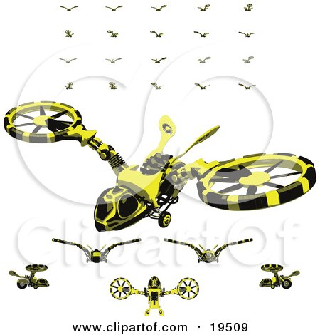 Clipart Illustration of a Collection of Wasp-Like Hovercraft Vehicles by Leo Blanchette