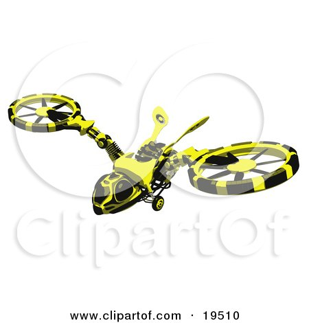 Clipart Illustration of a Wasp-Like Hovercraft Flying Through The Sky by Leo Blanchette