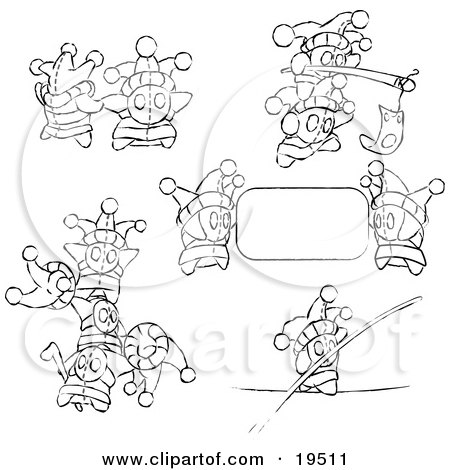 Clipart Illustration of Small Joker Skwidgets Holding Blank Signs And Banners by Leo Blanchette