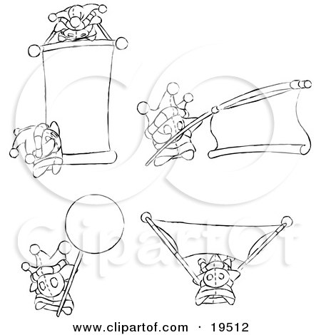 Clipart Illustration of Differently Posed Skwidgets Holding Blank Signs And Banners by Leo Blanchette