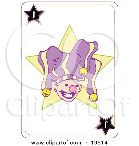 Clipart Illustration of a Smiley Faced Jester In A Purple And Yellow Hat On A Joker Playing Card by Leo Blanchette