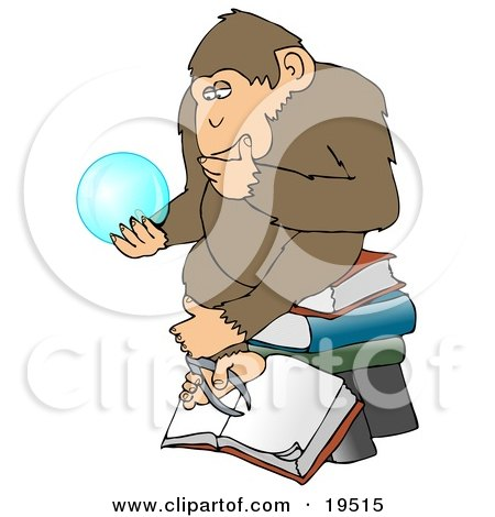 Clipart Illustration of a Wise Monkey In Thought, Rubbing His Chin And Sitting On Top Of A Stack Of Books While Gazing At A Crystal Ball Showing Him Glimpses Of What Is To Come by djart