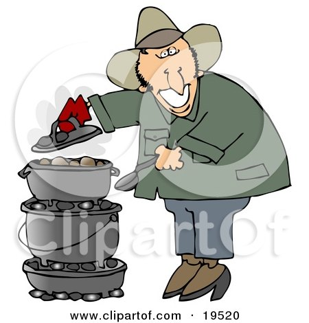 Happy White Guy Cooking On A Dutch Oven While Camping Outdoors Posters, Art Prints