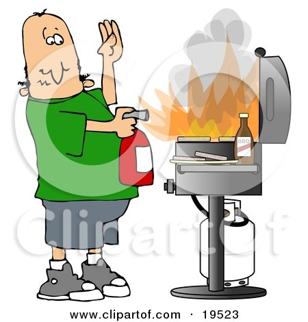 Clipart Illustration of a Cartoon White Man Using A Fire Extinguisher To Put Out Flaming Meat Patties On A Bbq Grill by djart