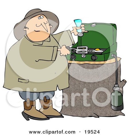 Happy Man Sniffing The Aroma Of Eggs While Cooking Breakfast On A Propane Camping Stove Posters, Art Prints