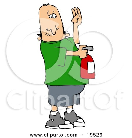 Clipart Illustration of a Nervous White Guy Holding His Hand Up And Using A Red Fire Extinguisher To Put Out A Fire by djart