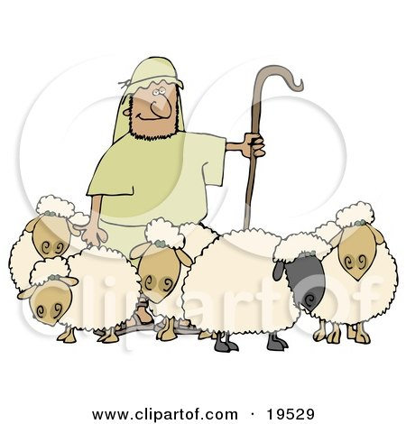 Clipart Illustration of a Man Holding A Staff And Standing With His Sheep by Dennis Cox