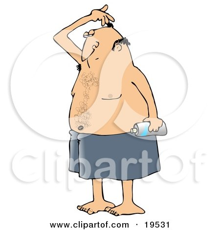 Clipart Illustration of a White Man Wrapped In A Towel, Sniffing His Armpit Before Spraying Deodorant On His Underarms After Getting Out Of The Shower by djart