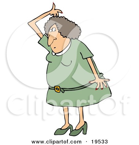 Clipart Illustration of a Stinky White Woman In A Green Dress And Heels, Lifting Her Arm Up Over Her Head And Sniffing Her Armpit For Odor by djart
