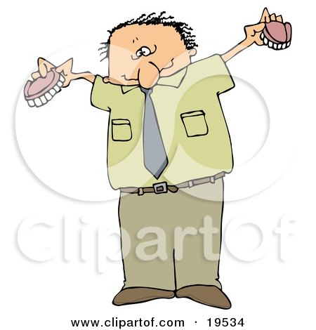 Clipart Illustration of a White Man In Green, Holding Up His Two Sets Of Dentures by djart