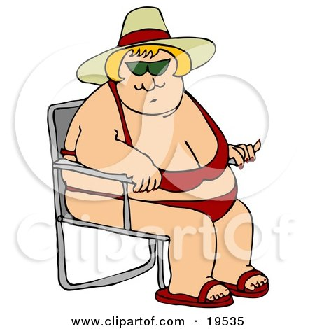 Clipart Illustration of a Pleasantly Plump Blond White Lady In A Red Bikini, Hat And Sandals, Seated In A Beach Chair And Enjoying Summer Weather by djart