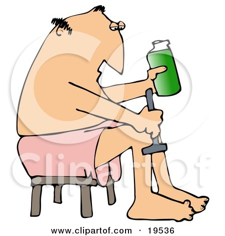 Clipart Illustration of a White Man With Metrosexual Tendencies, Wrapped In A Towel And Seated On A Stool, Shaving His Legs With Cream And A Razor by djart