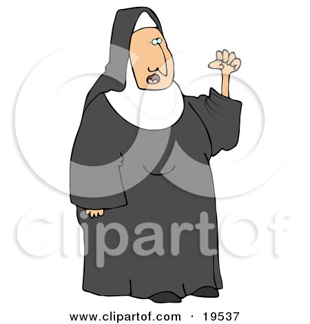 Clipart Illustration of a Frustrated Nun In Black And White Waving Her Fist In The Air While Arguing by djart
