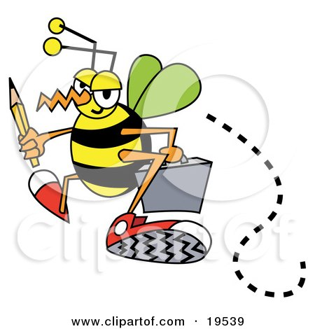 Busy Bee Carrying A Pencil And Briefcase While Flying To Work Posters, Art Prints