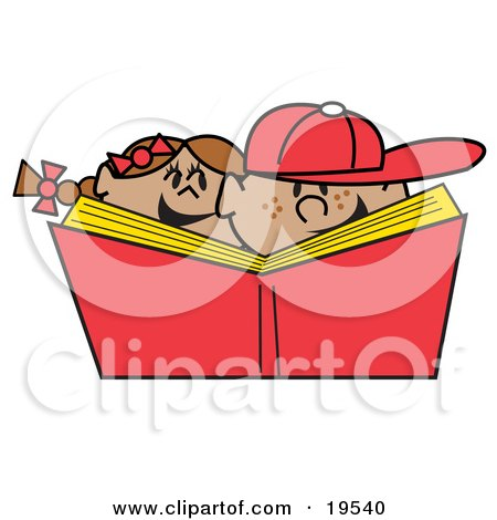 Clipart Illustration of a Happy Brother And Sister With Freckles, Laughing While Reading A Library Book Together by Andy Nortnik