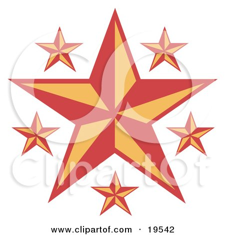 Clipart Illustration of a Large Nautical Star With Smaller Ones in Red and Yellow by Andy Nortnik