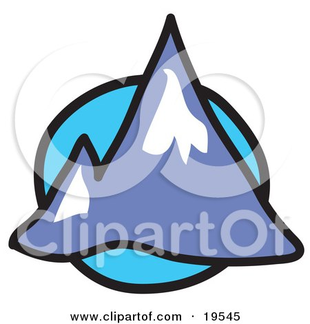 Clipart Illustration of Two Pointy Mountain Peaks Over A Blue Circle Background by Andy Nortnik