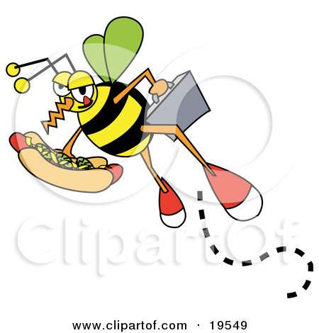 Business Bee Carrying A Briefcase And A Hotdog With Mustard And Relish Posters, Art Prints