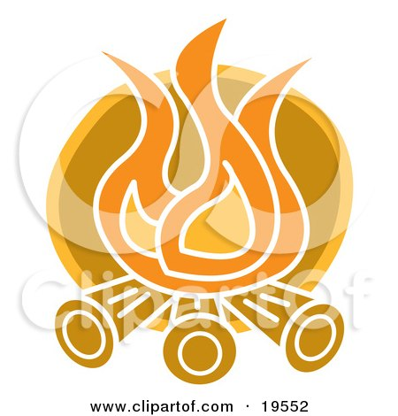 Clipart Illustration of Flames Burning Logs on a Campfire by Andy Nortnik