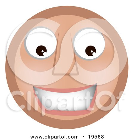 Clipart Illustration of a Friendly Smiling Tan Smiley Face by AtStockIllustration
