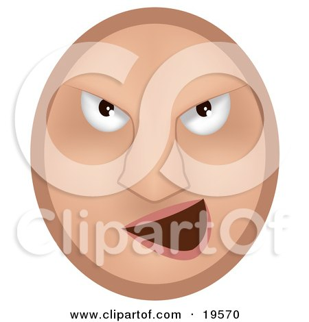 Clipart Illustration of a Mean Emoticon Face Bully Grinning by AtStockIllustration