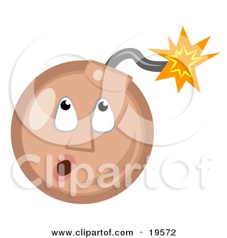 Clipart Illustration of a Tan Ticking Time Bomb Smiley Face Looking Up At The Fuse by AtStockIllustration