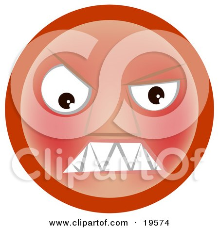 Clipart Illustration of a Furious Red Emoticon Face Baring its Teeth by AtStockIllustration