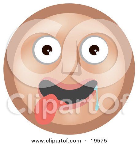 Clipart Illustration of an Infatuated Tan Smiley Face Hanging Its Tongue Out And Drooling Over A Pretty Smiley by AtStockIllustration