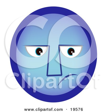 Clipart Illustration of a Sad Blue Smiley Face With the Blues by AtStockIllustration