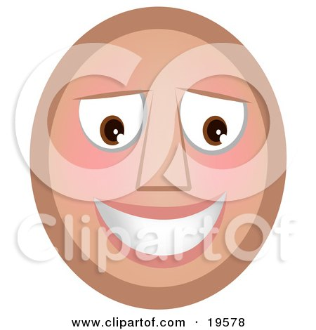 Clipart Illustration of a Slightly Flushed, Blushing Emoticon Face Smiling After Receiving A Flirty Comment by AtStockIllustration