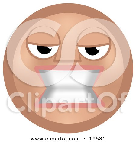 Clipart Illustration of a Mean Tan Smiley Face Woman Gritting Her Teeth In Anger by AtStockIllustration