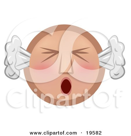 Clipart Illustration of a Furious Tan Smiley Face With Flushed Cheeks, Blowing Smoke Out Of The Ears And Screaming by AtStockIllustration