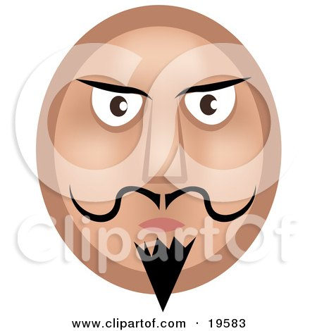 Clipart Illustration of a Stern Emoticon Face Man With A Goatee, Mustache And Dark Eyebrows by AtStockIllustration