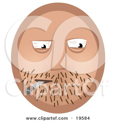 Clipart Illustration of an Emoticon Face Guy With Stubble And Bloodshot Eyes, Smoking A Doobie by AtStockIllustration