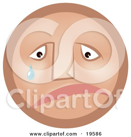 Clipart Illustration of a Sad Tan Smiley Face Pouting And Crying by AtStockIllustration