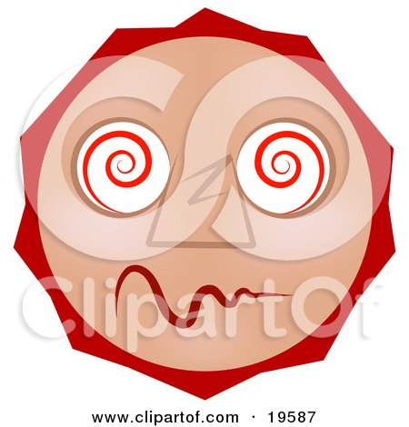 Clipart Illustration of a Dazed And Confused Tan Smiley Face High On Drugs by AtStockIllustration