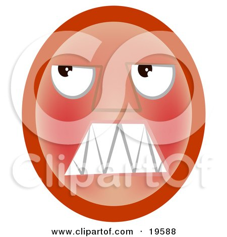 Clipart Illustration of a Frustrated Red Emoticon Face Looking Upwards by AtStockIllustration