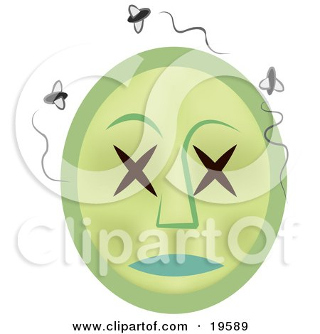 Rotting Dead Emoticon Face Surrounded By Swarming Flies Posters, Art Prints