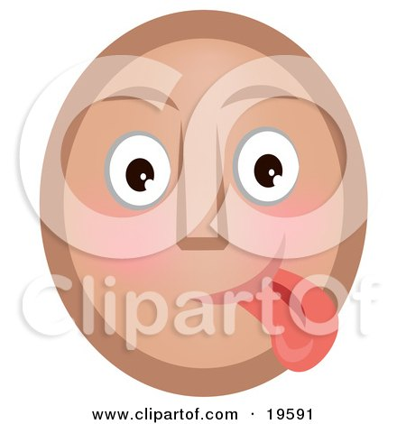 Clipart Illustration of a Goofy Emoticon Face Teasing And Sticking Its Tongue Out by AtStockIllustration