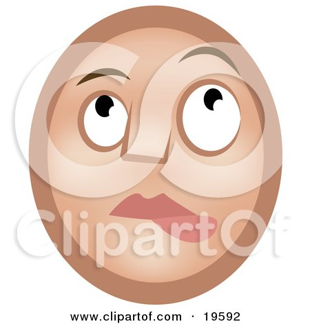 Clipart Illustration of a Nervous Lip Biting Emoticon Face Nibbling It's Lower Lip And Looking Upwards by AtStockIllustration
